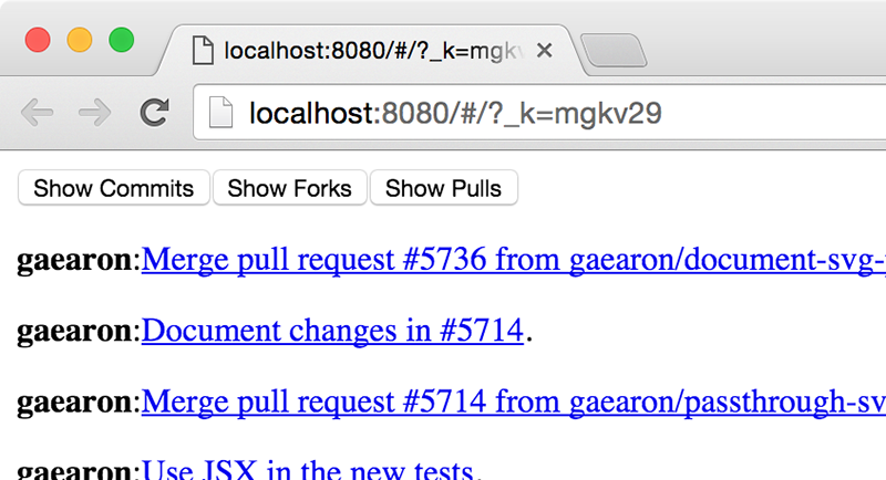 A basic install of React Router shows URLs with random numbers in the query string.